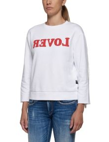 Replay Printed sweatshirt with fringed back