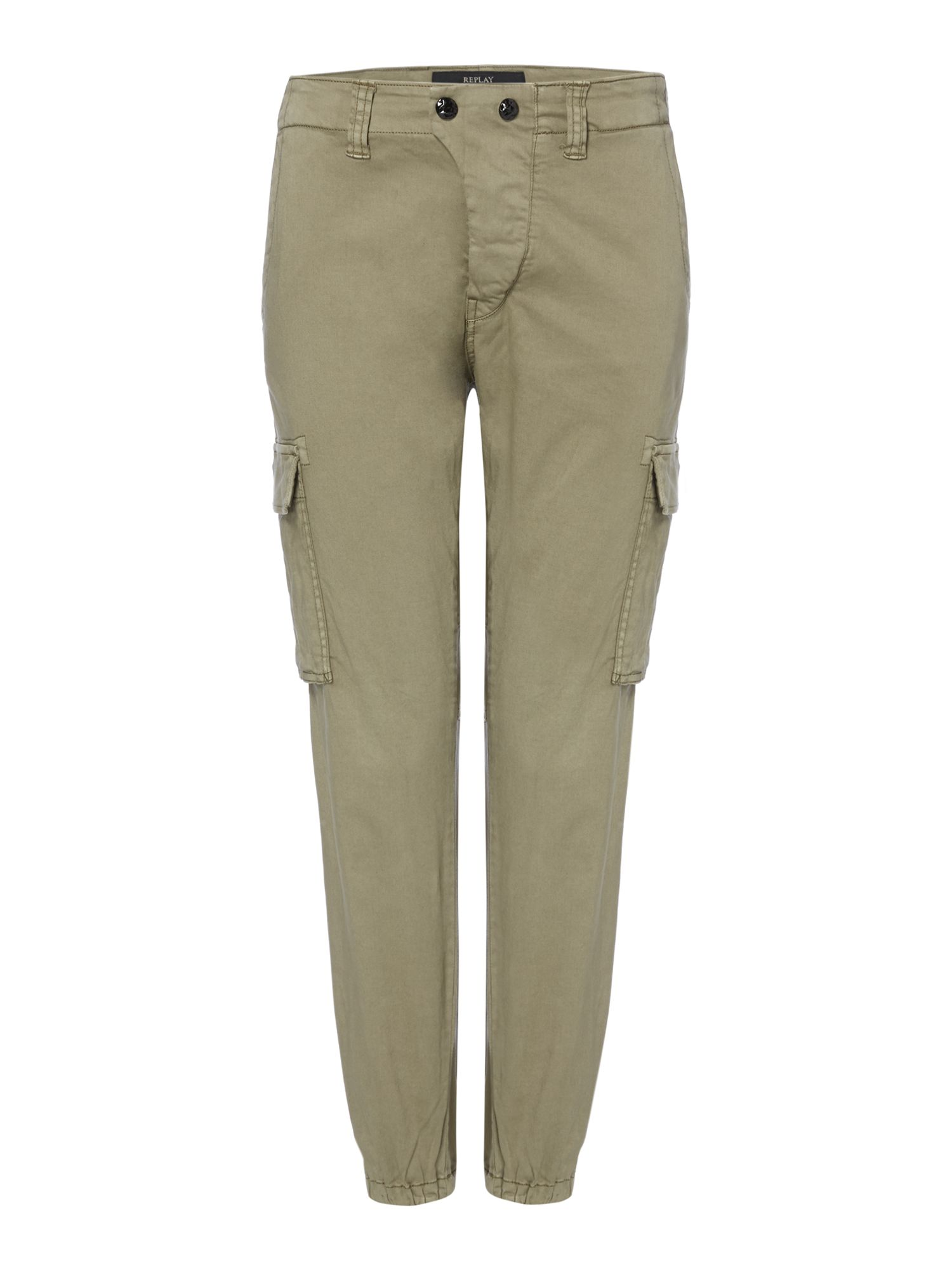 Replay Stretch satin trousers, Green