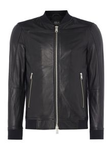 Replay Leather jacket with ribbed collar