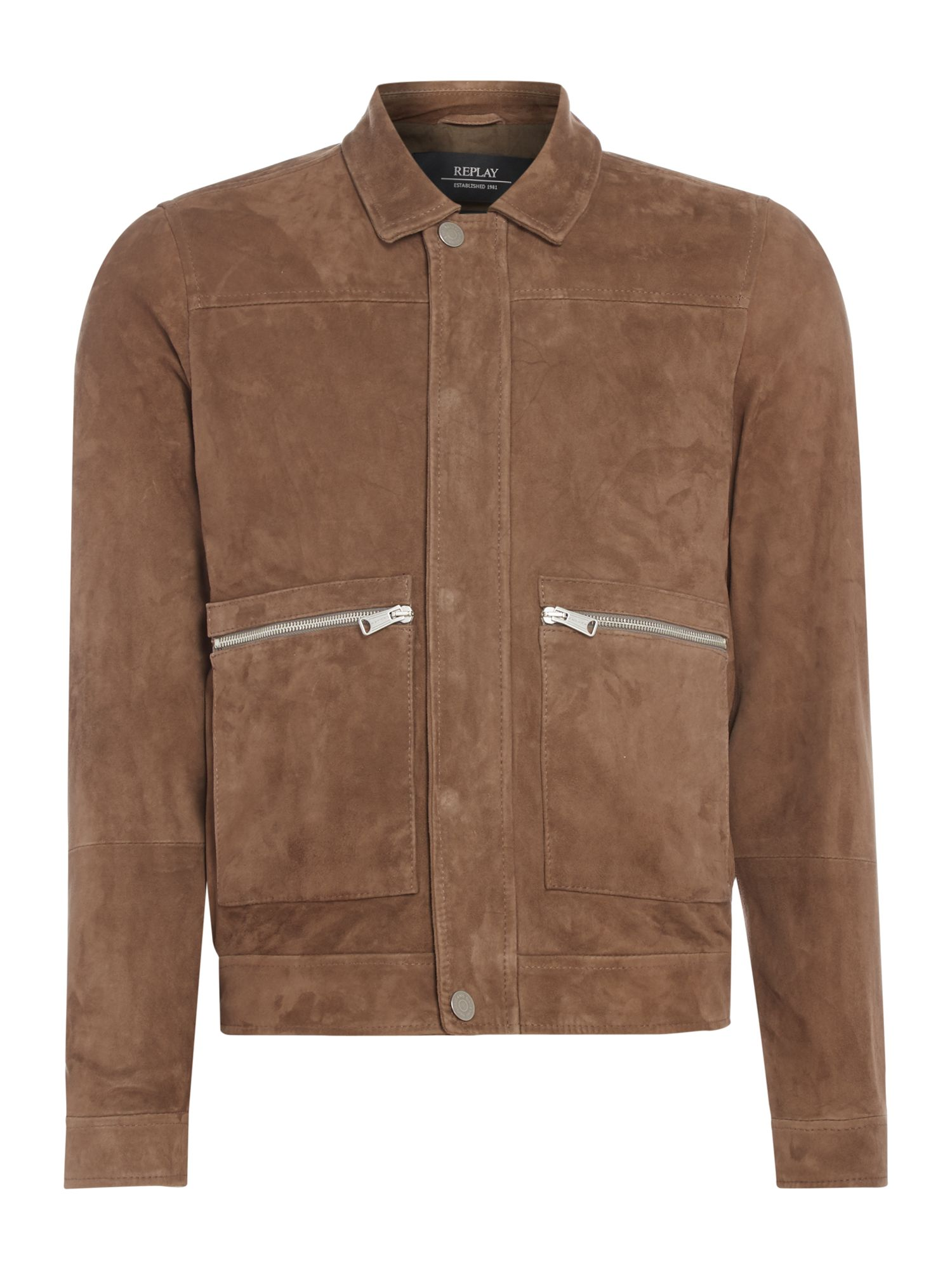 Mens Replay Crinkled leather jacket Brown