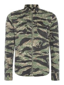 Replay Zip-front camouflage print shirt
