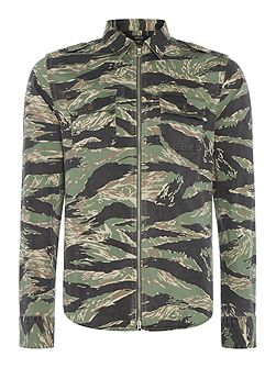 Zip-front camouflage print shirt