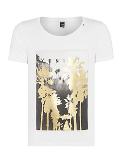 Cotton T-shirt with gold print