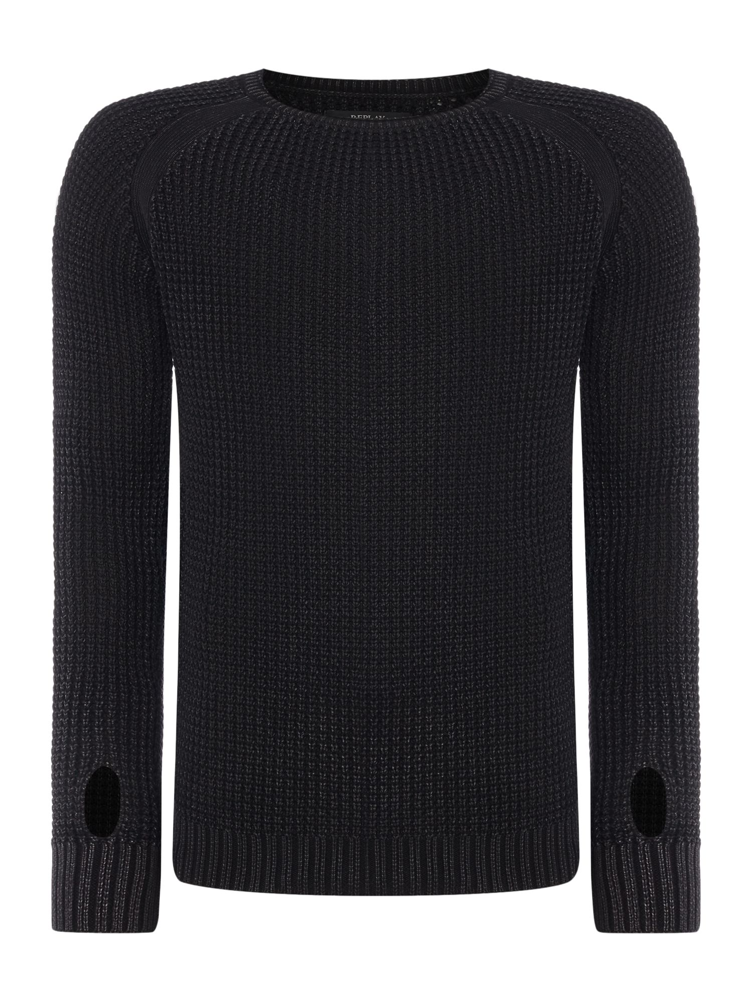 Mens Replay Knitted cotton crewneck jumper Black
