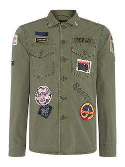 Jacket with patches and back print