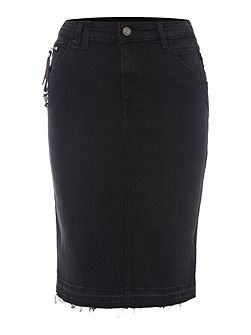 Side-zip denim skirt