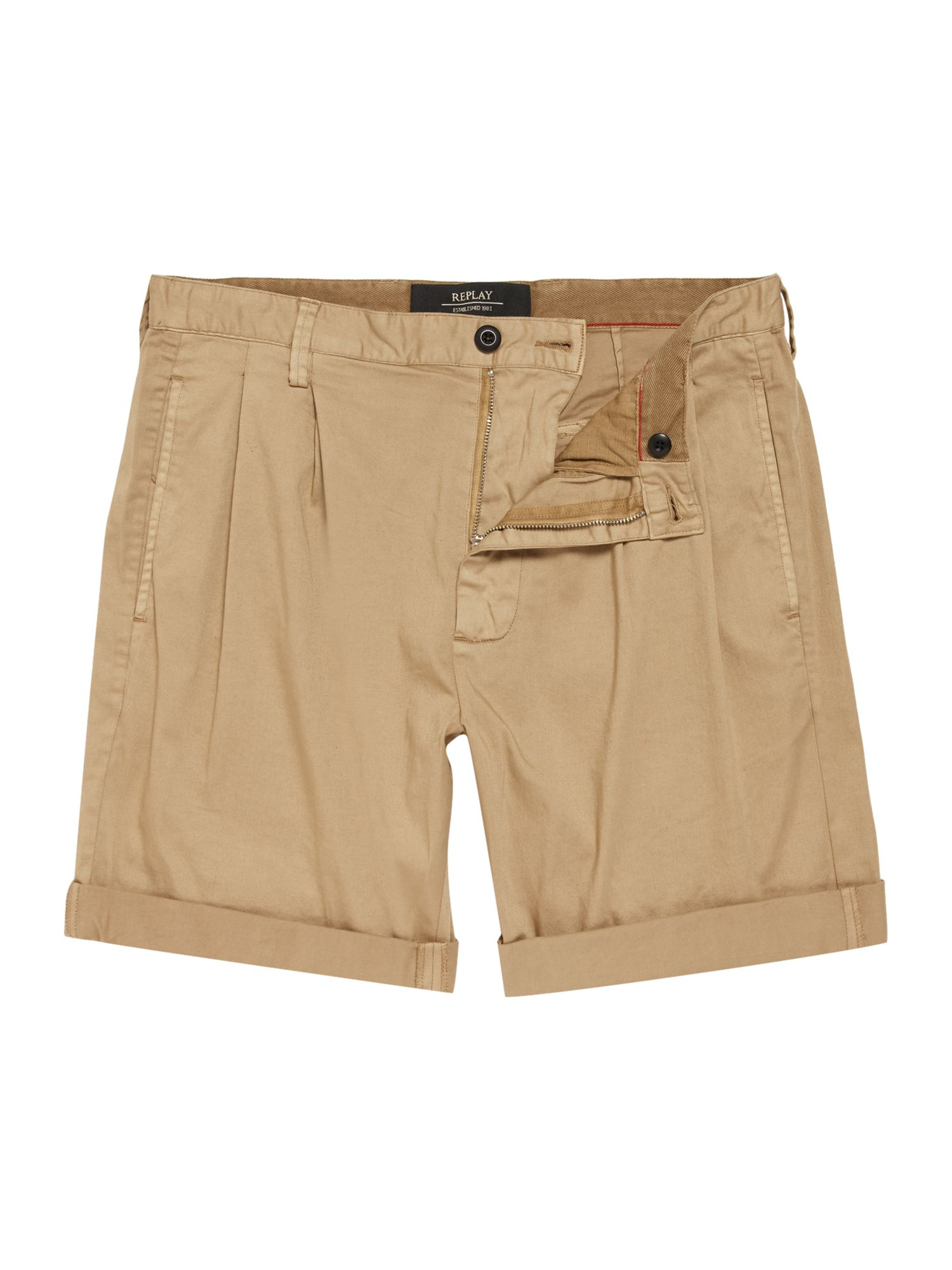 Mens Replay Solid stretch satin bermuda shorts Khaki