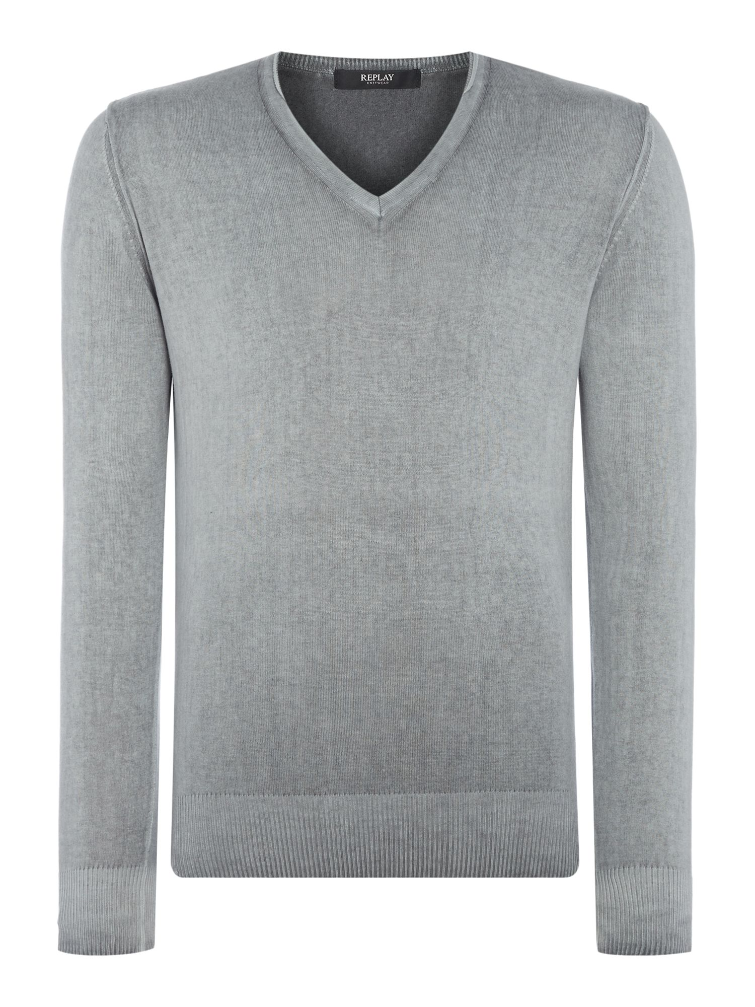 Mens Replay Faded cotton jumper Grey