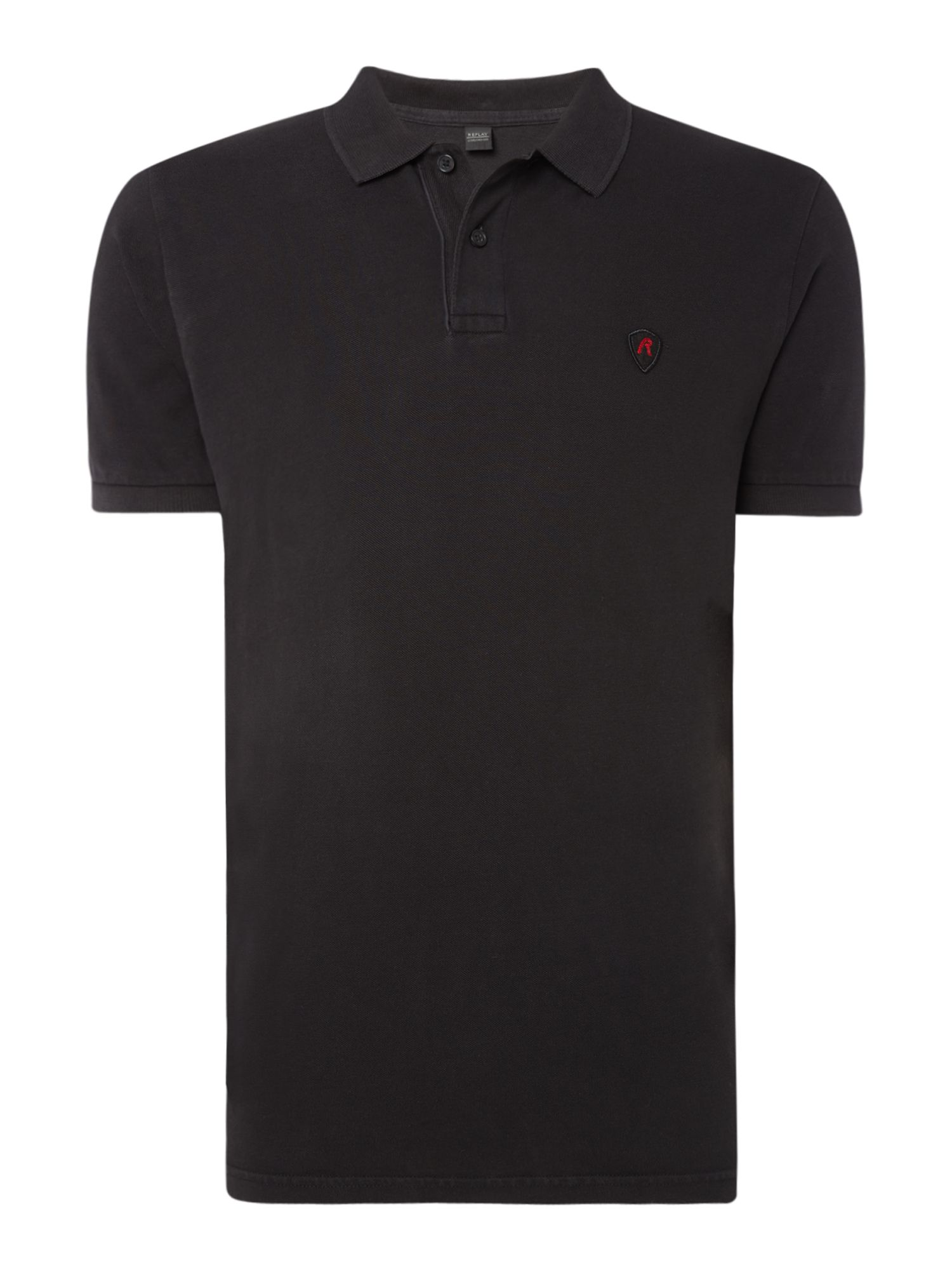 Men's Replay Garment Dyed Piquet Polo, Nearly Black