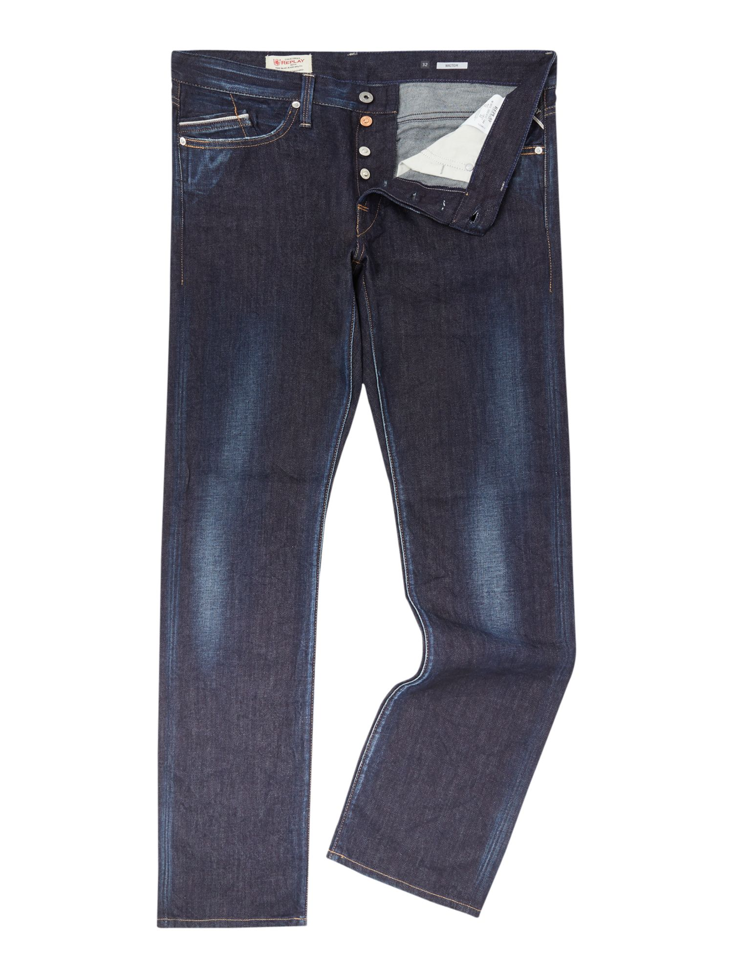 Mens Waitom Denim Dark Wash Jeans, Denim Dark Wash
