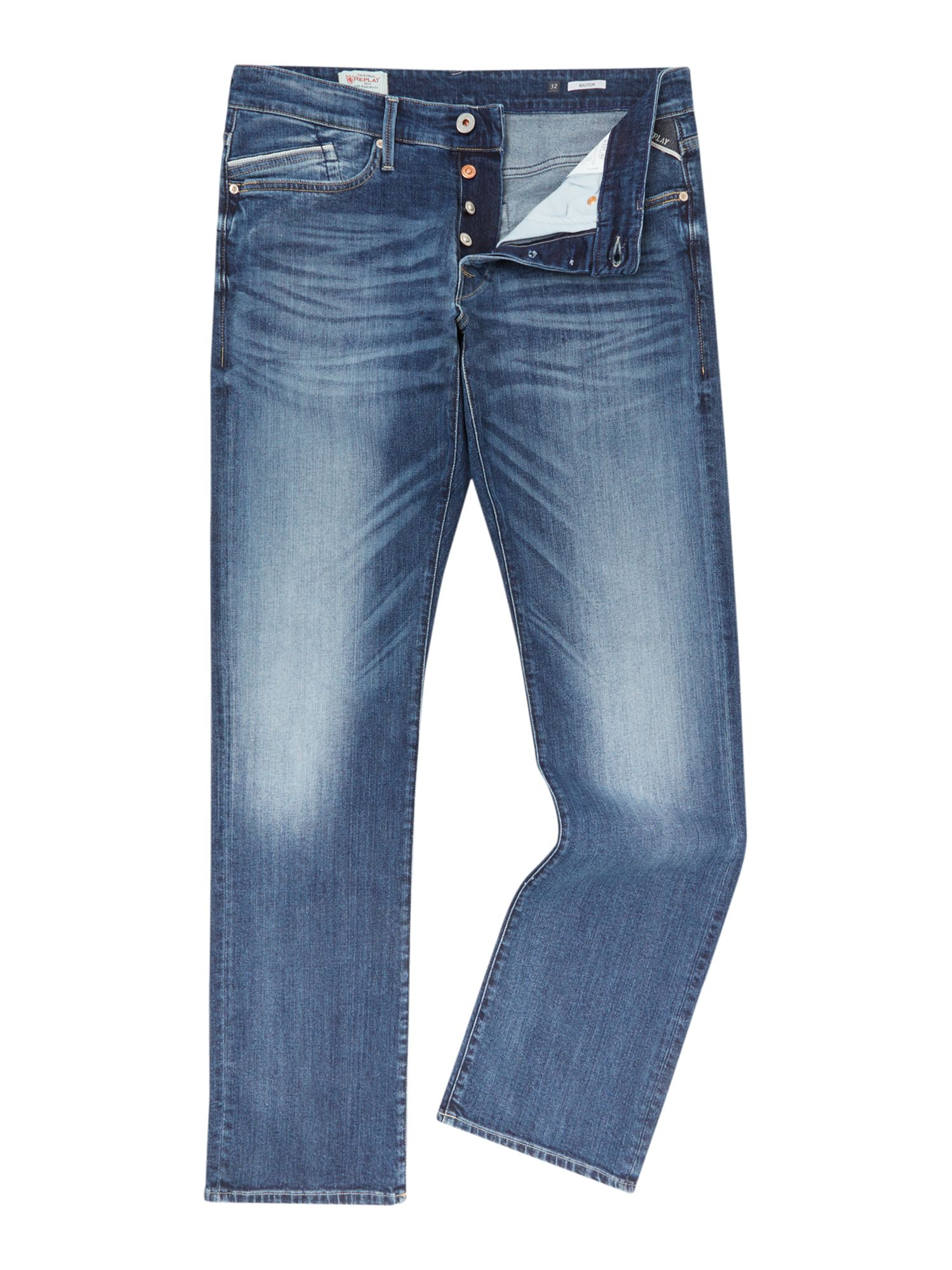 Mens Waitom Jeans, Denim Mid Wash