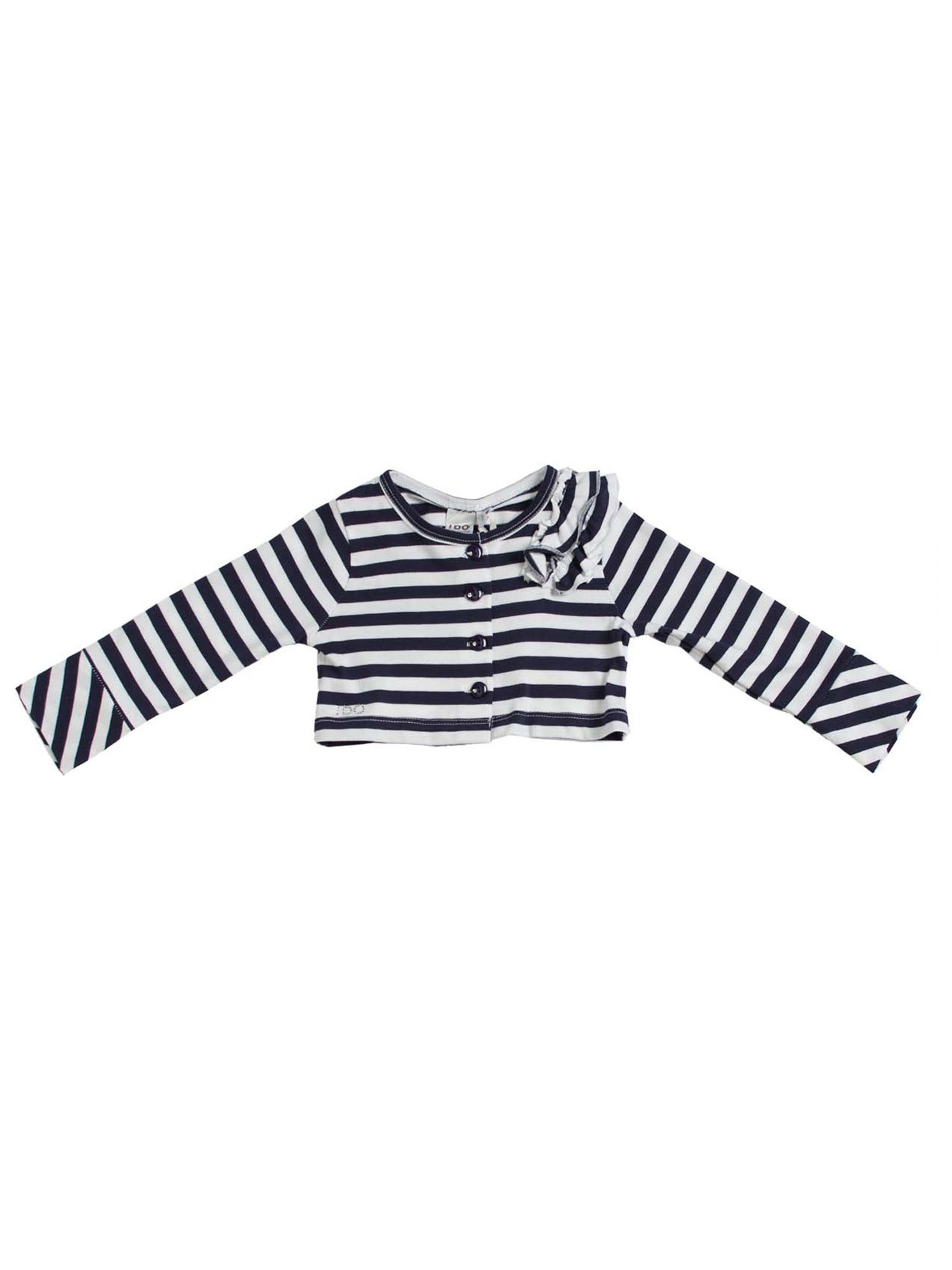 Girls white blue striped cardigan