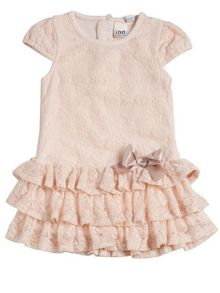 Girls pale pink lace frilled dress