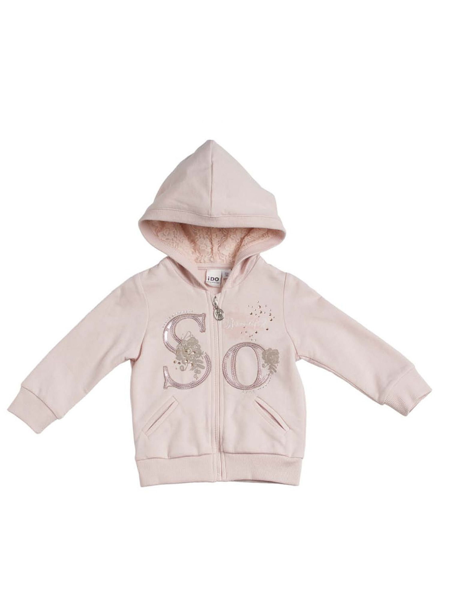 Girl hooded stretchy full zip top