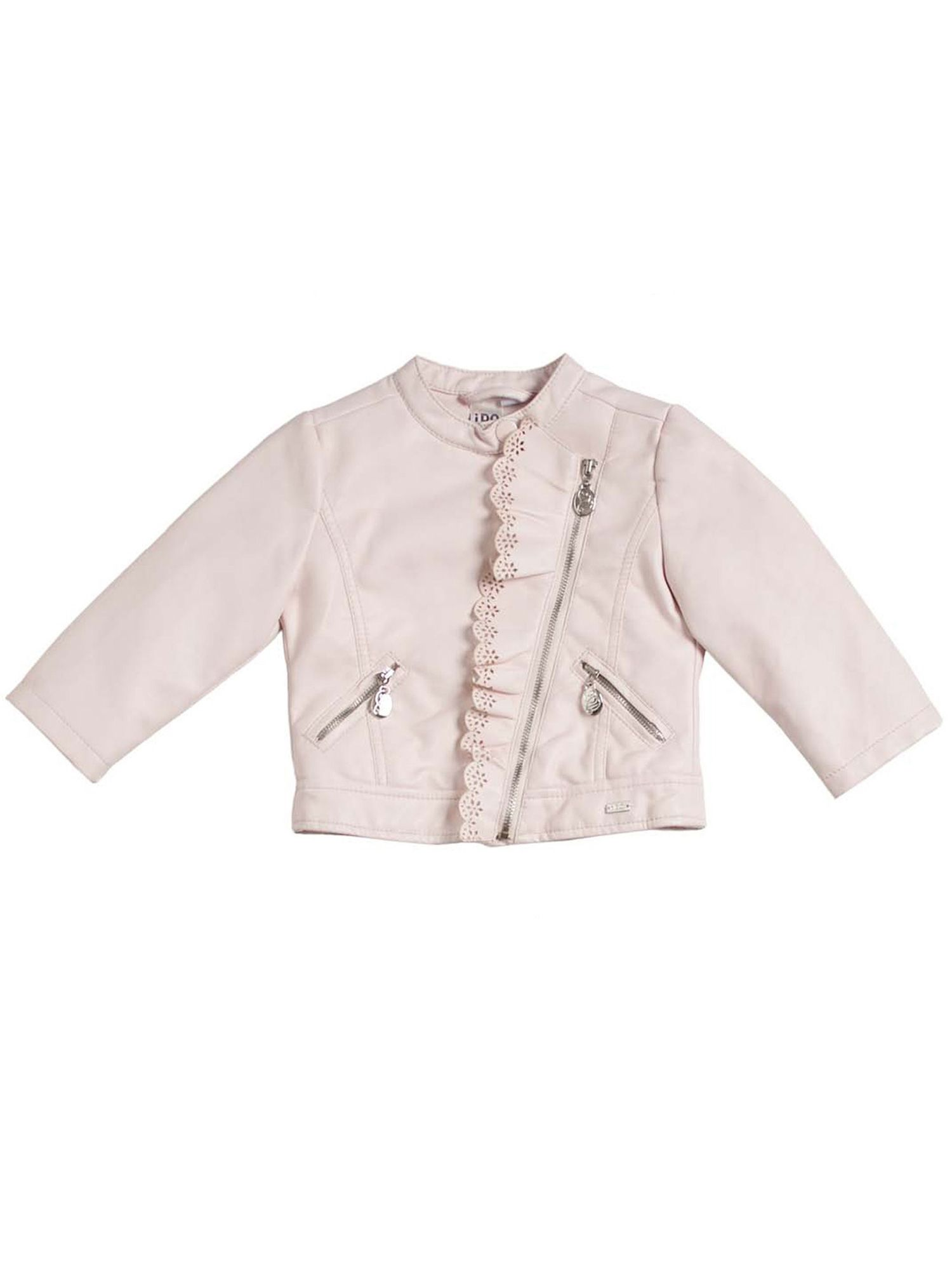 Girls pale pink faux leather jacket