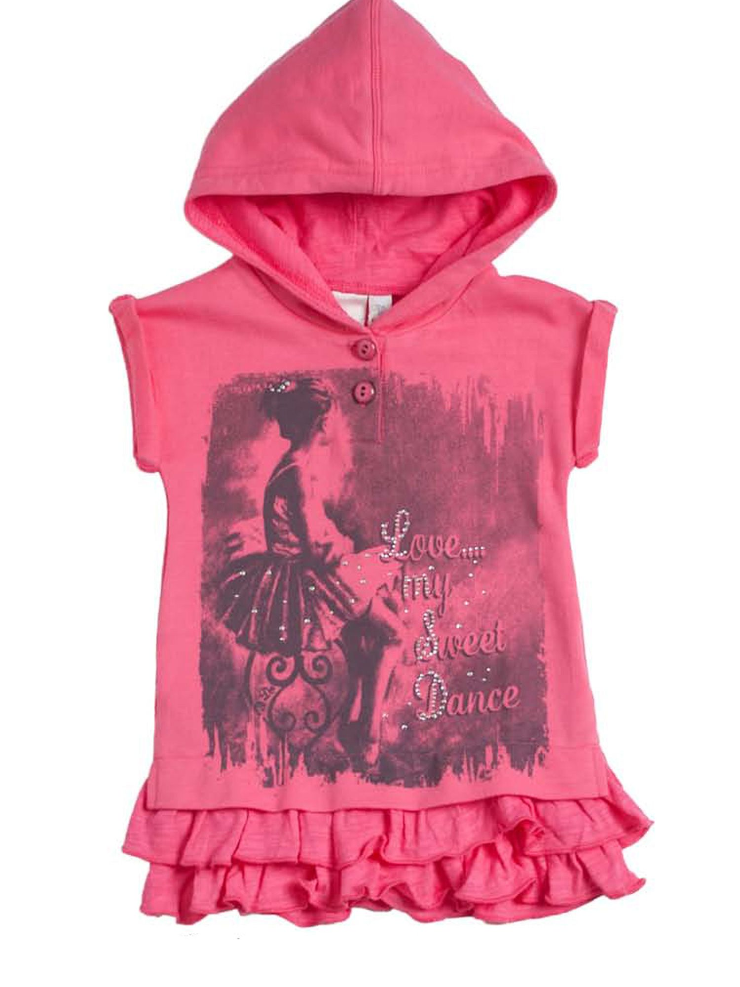 Girls hooded fuxia mini dress