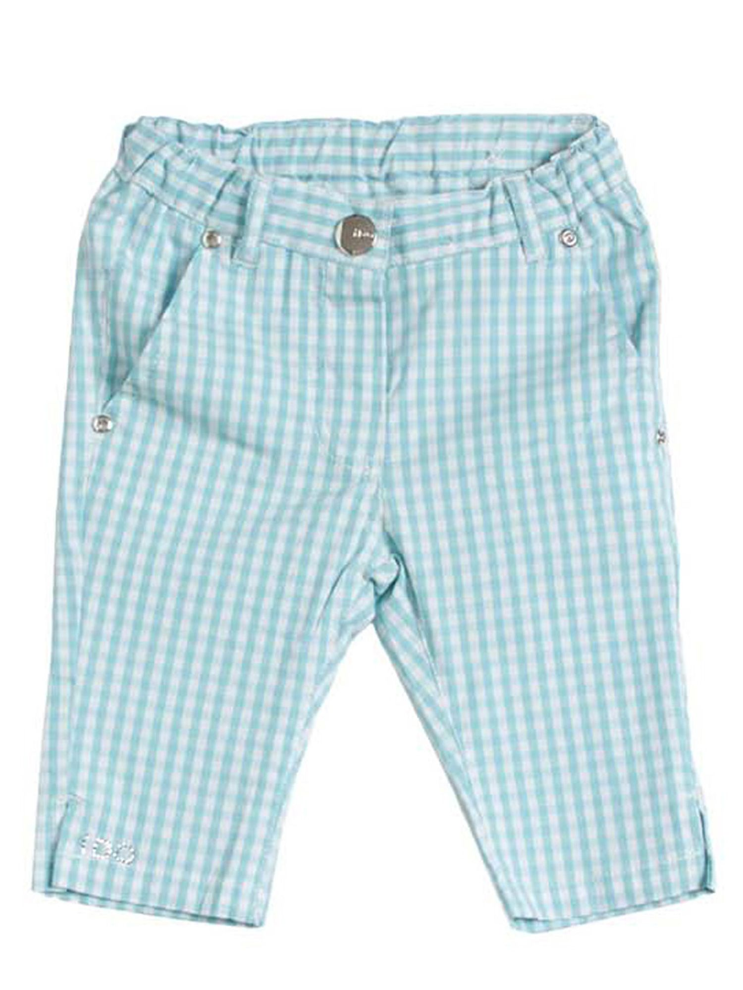 Girls gingham stretchy trousers