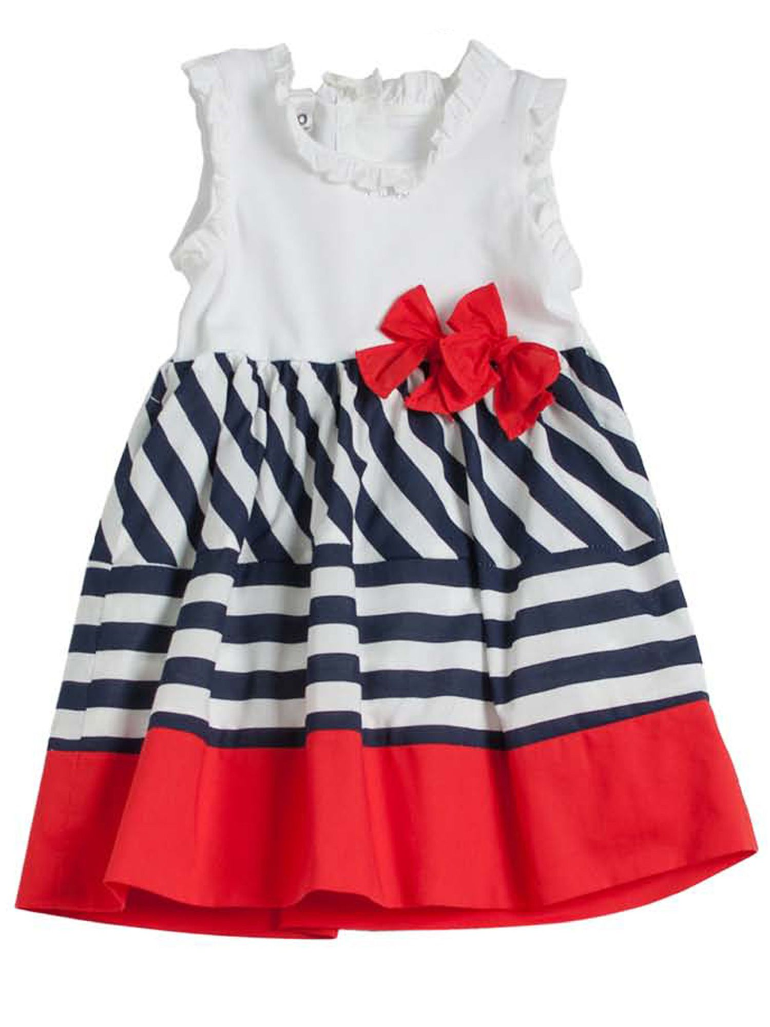 Girls blue red and white striped dress