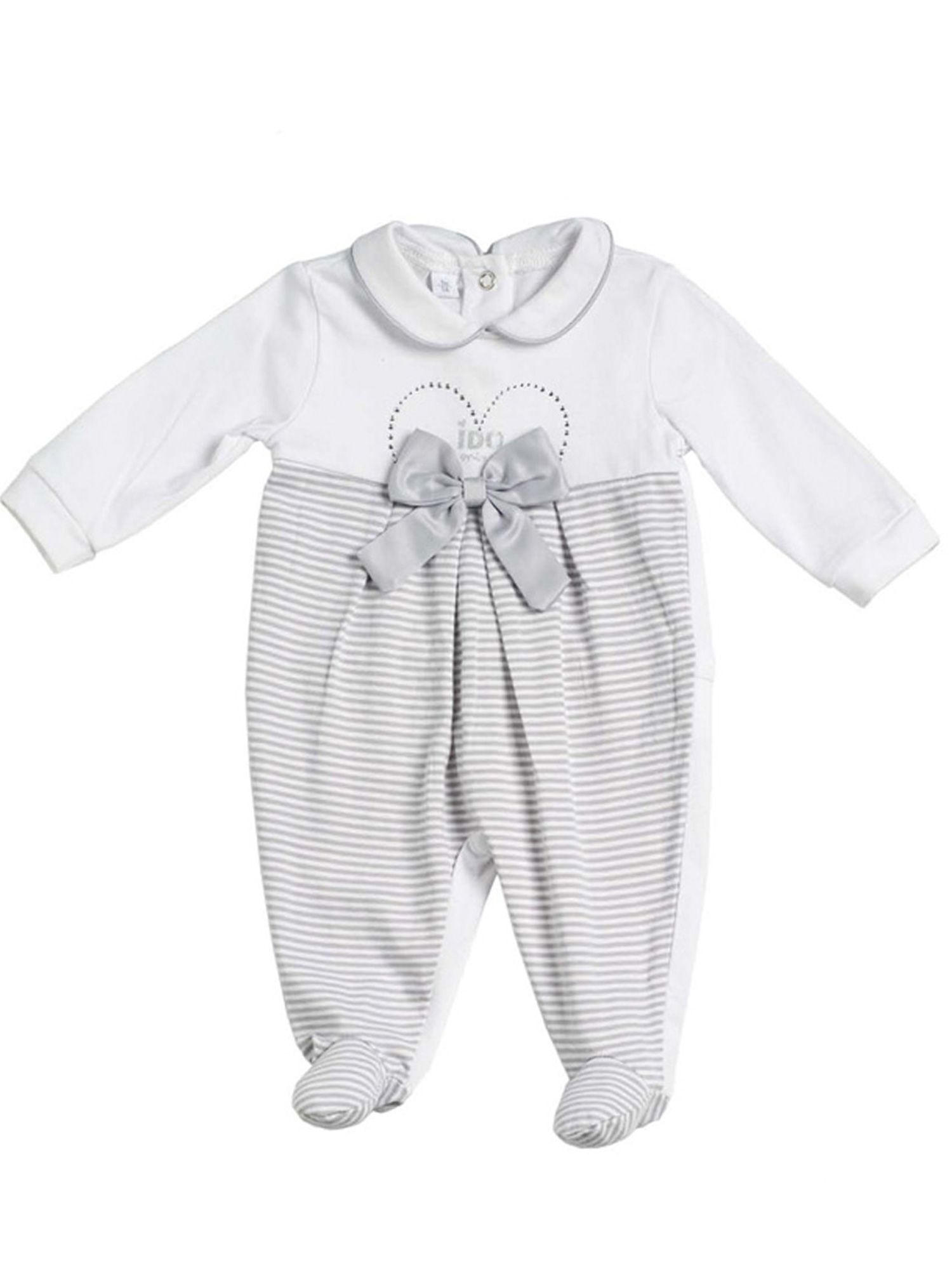 Girls white and grey cotton all in one