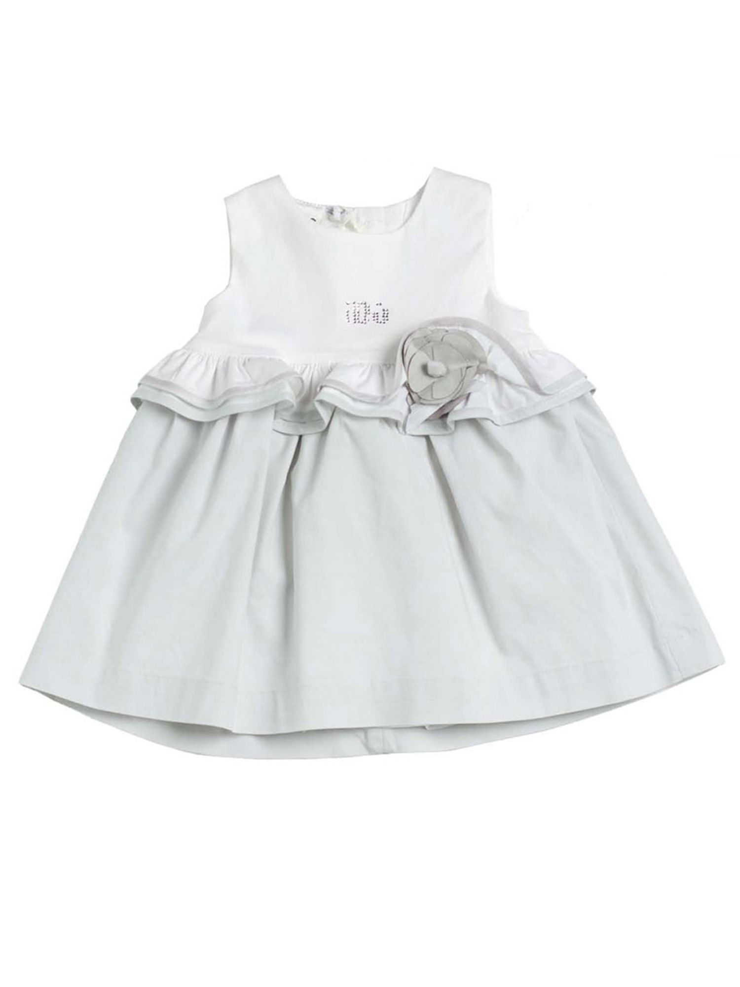 Baby girls grey and white cotton dress