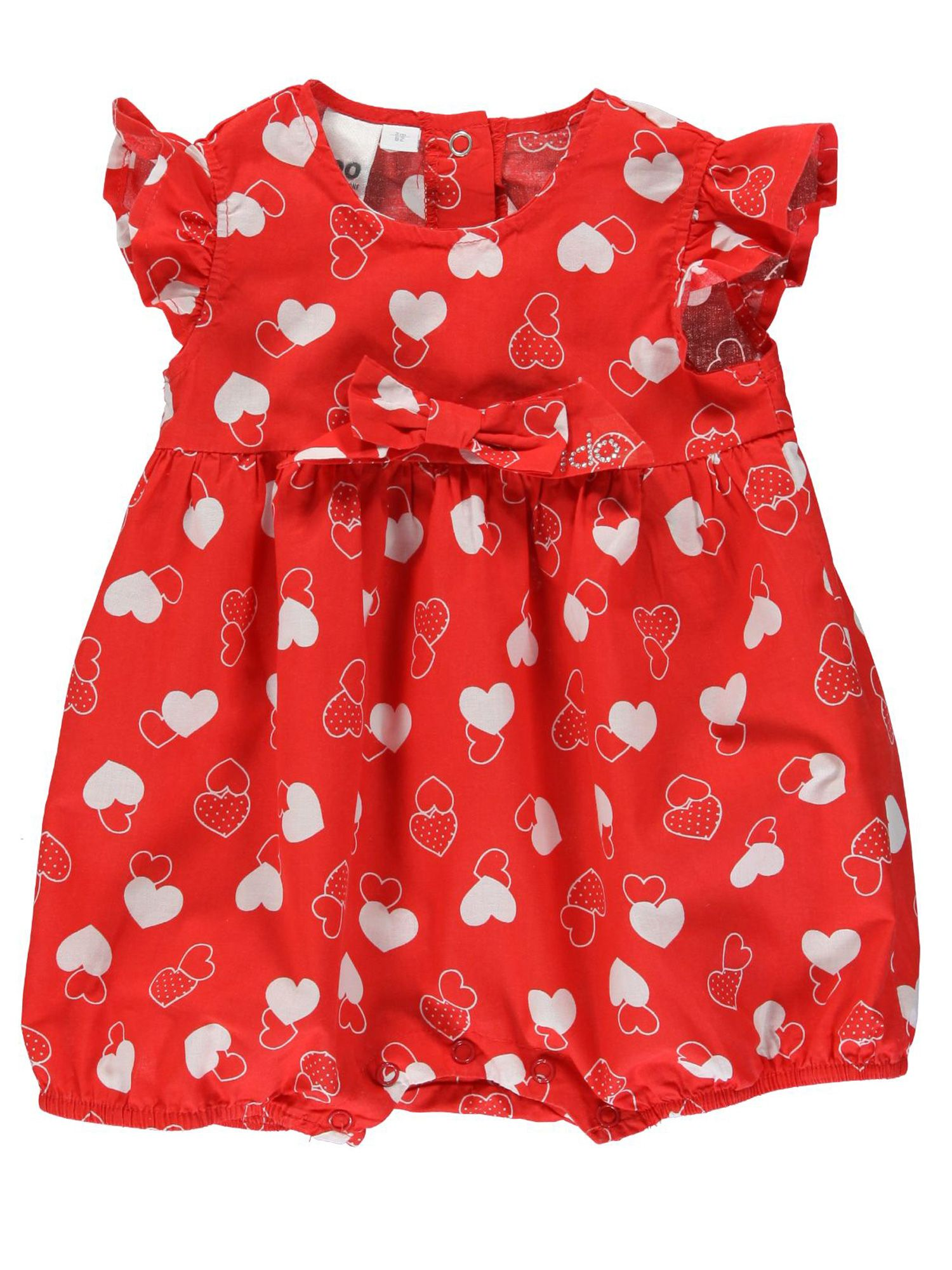 Baby girls red cotton dress with hearts