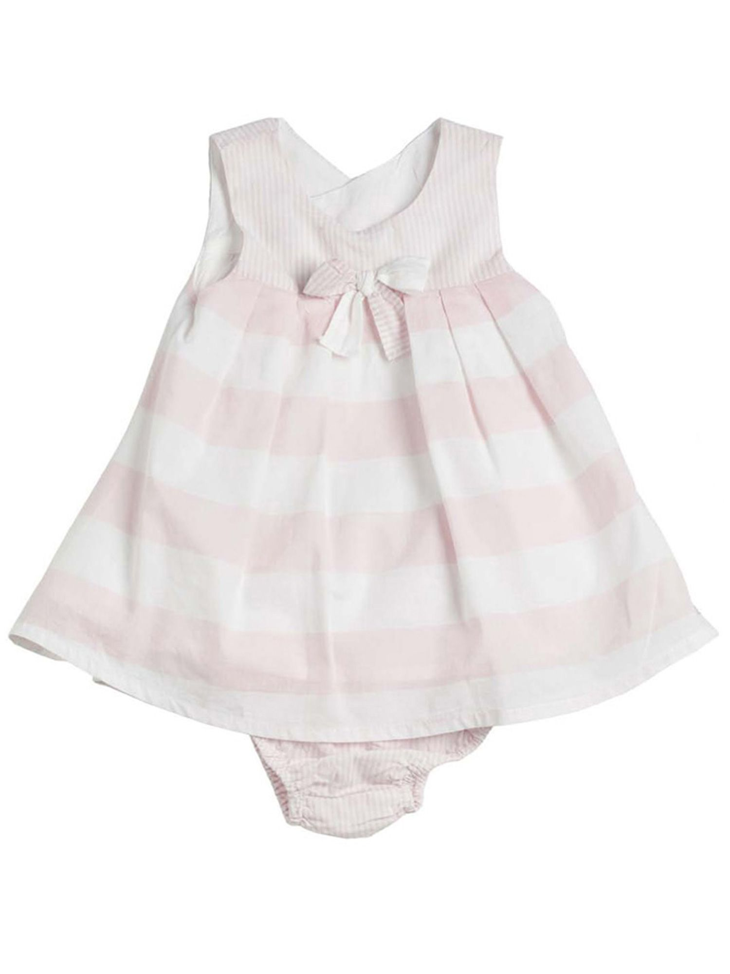 Baby girls pink striped cotton dress with knicker