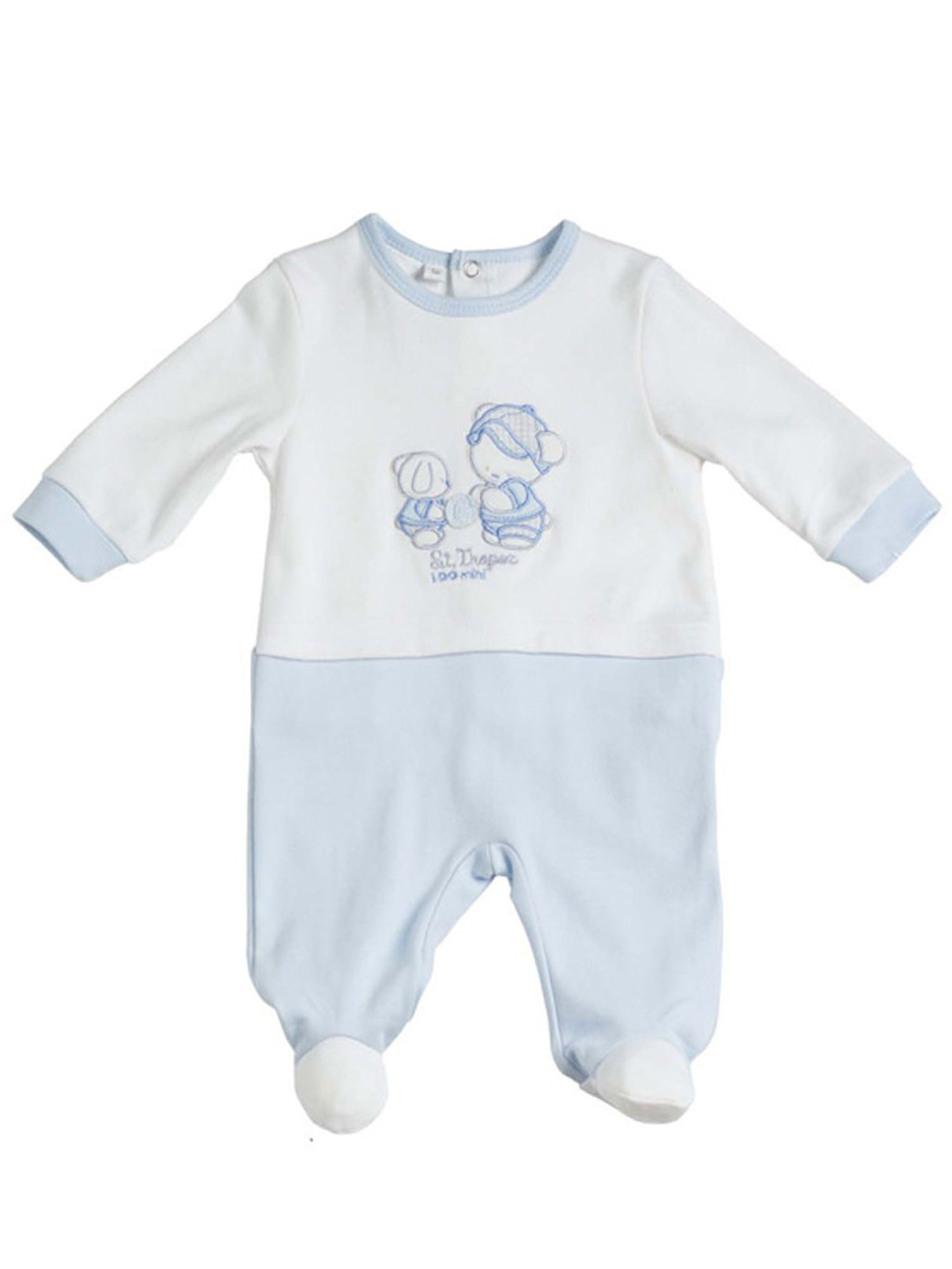 Boys white and blue cotton all in one