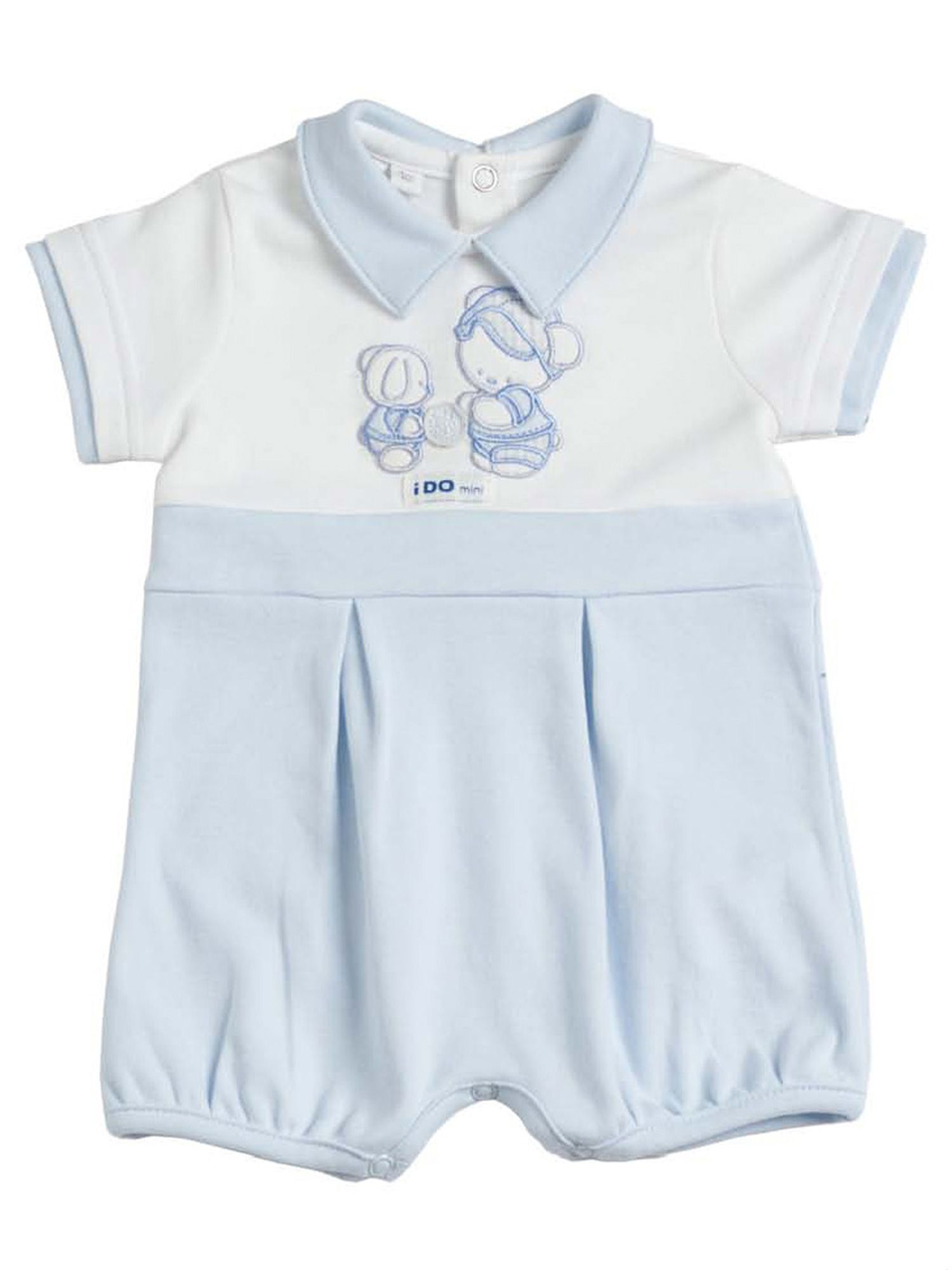 Baby boys pale blue cotton shorts all in one