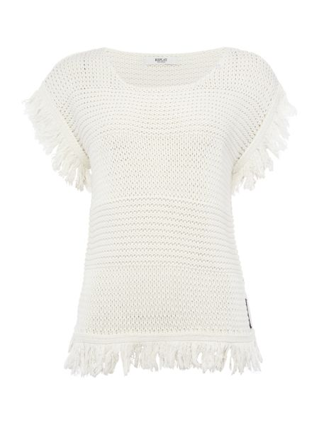 Replay Openwork pullover with fringe