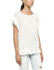 Openwork pullover with fringe