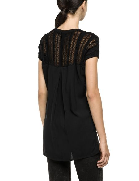 Replay Asymmetric pullover with visible weft