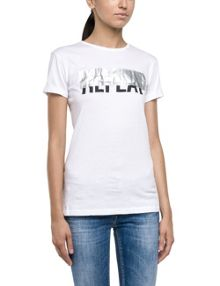 Replay T-shirt with all-over rubberised print