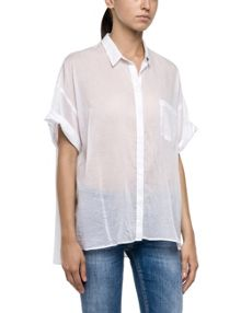 Replay Cotton muslin semi-transparent shirt