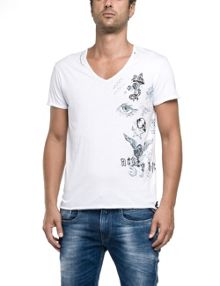 Replay V-neck T-shirt with raw edge trim
