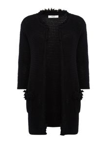 Replay Openwork cardigan with fringe