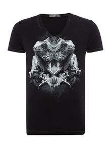 V-neck T-shirt with photographic print