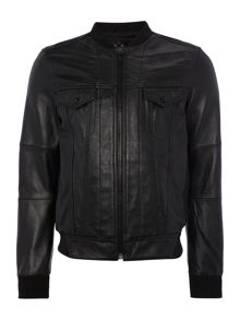 Replay Leather jacket with ribbing