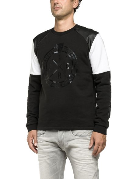 Replay Sweatshirt with fake leather inserts