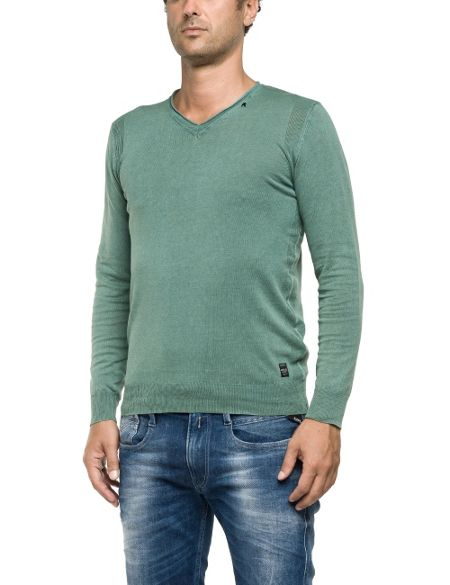 Replay V-neck pullover with ribbed inserts