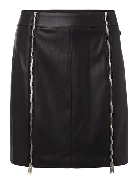 Replay Faux Leather Short Skirt With Zip