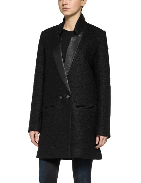 Replay Boucle` Wool Blend Coat