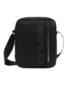 Replay Faux leather and denim shoulder bag