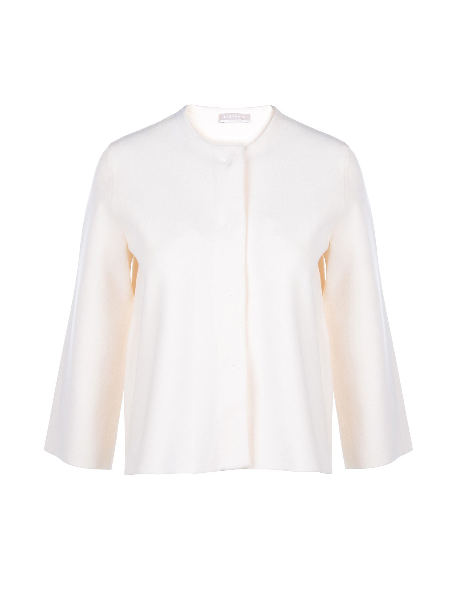 Stefanel Jacket With Mandarin Collar, Cream