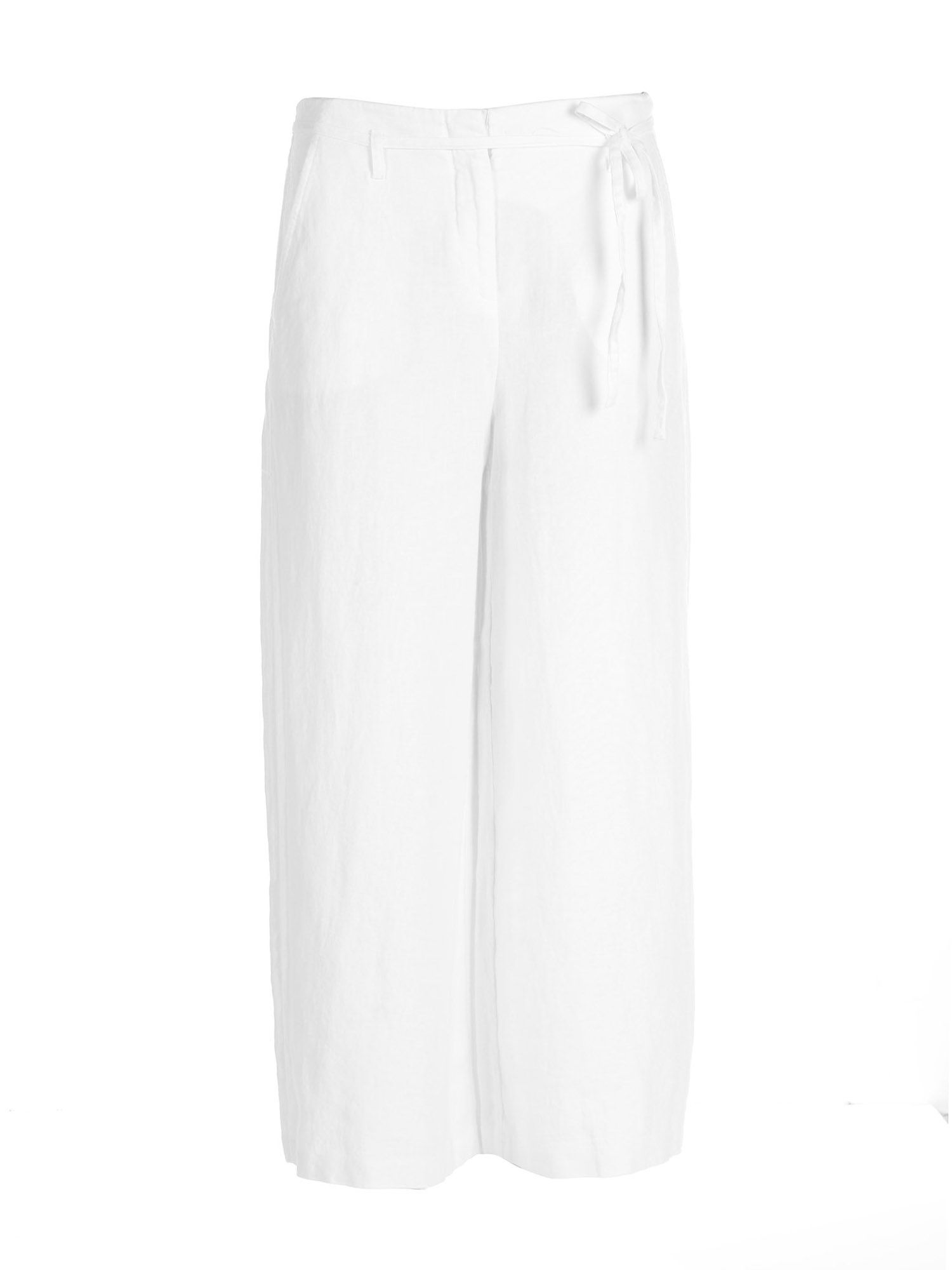 Stefanel Cropped Linen Trouser, Cream