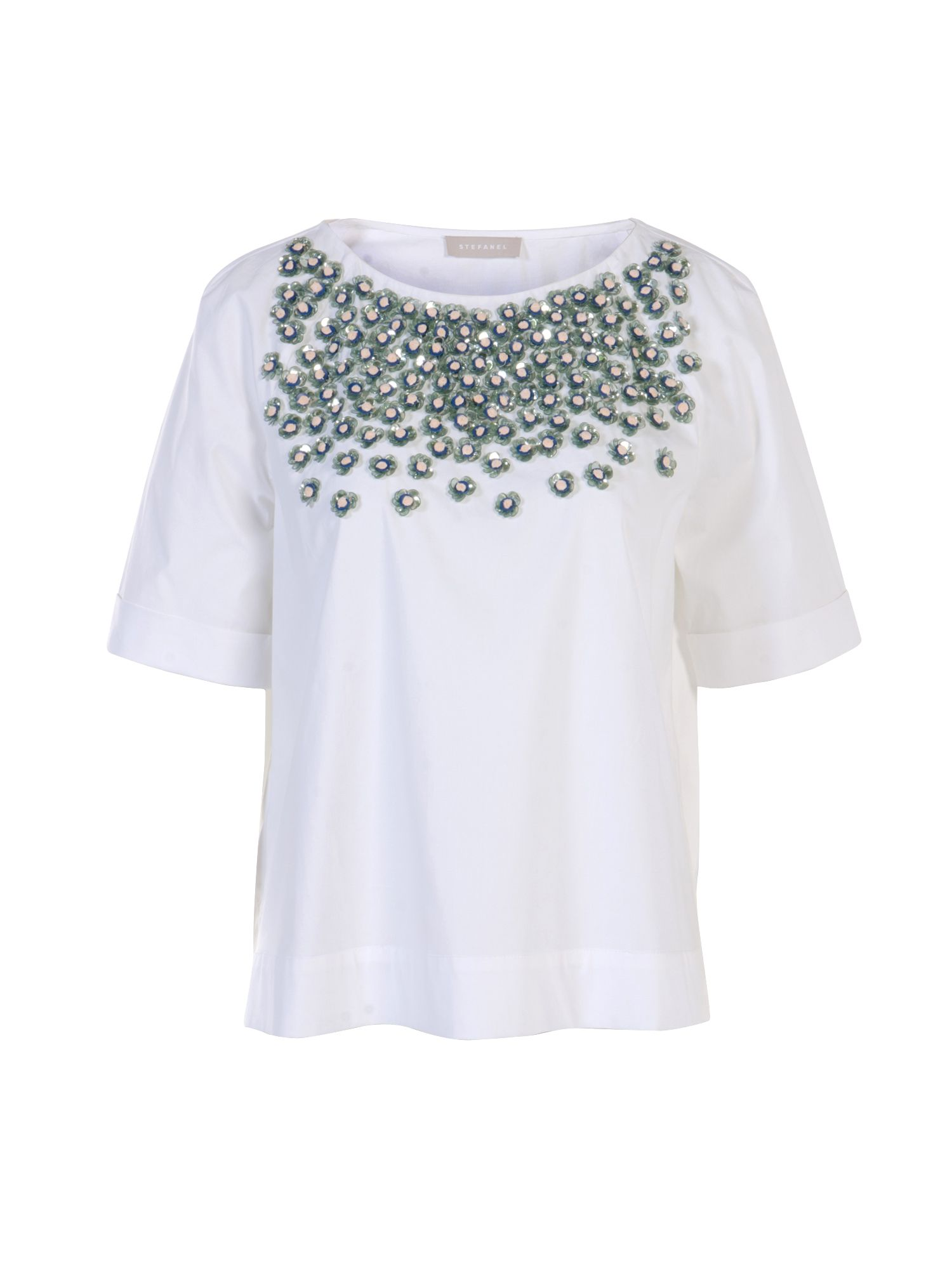 Stefanel Poplin Top With Beaded Embroidery, White