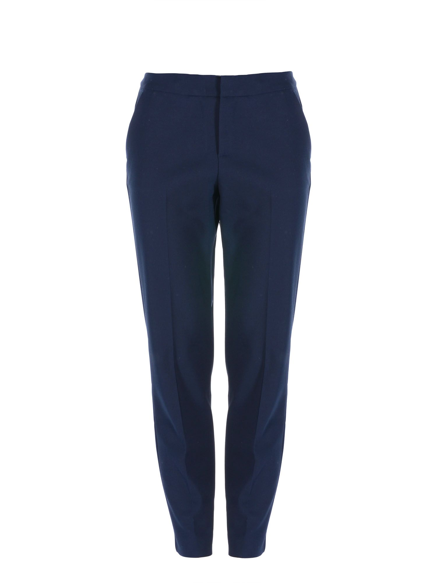 Stefanel Straight Stretch Cotton Trouser, Blue