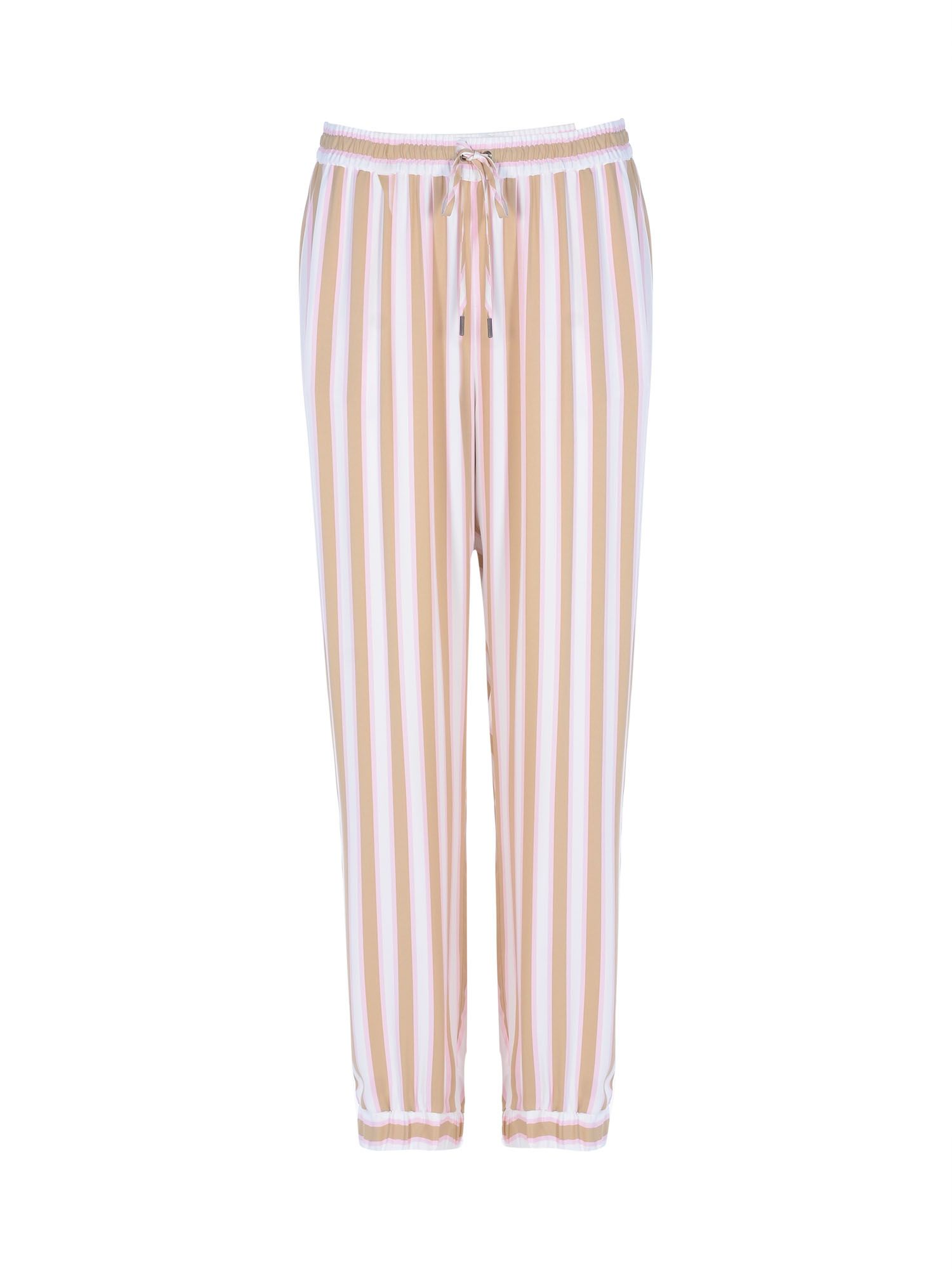Stefanel Striped Viscose Satin Joggers, Pink