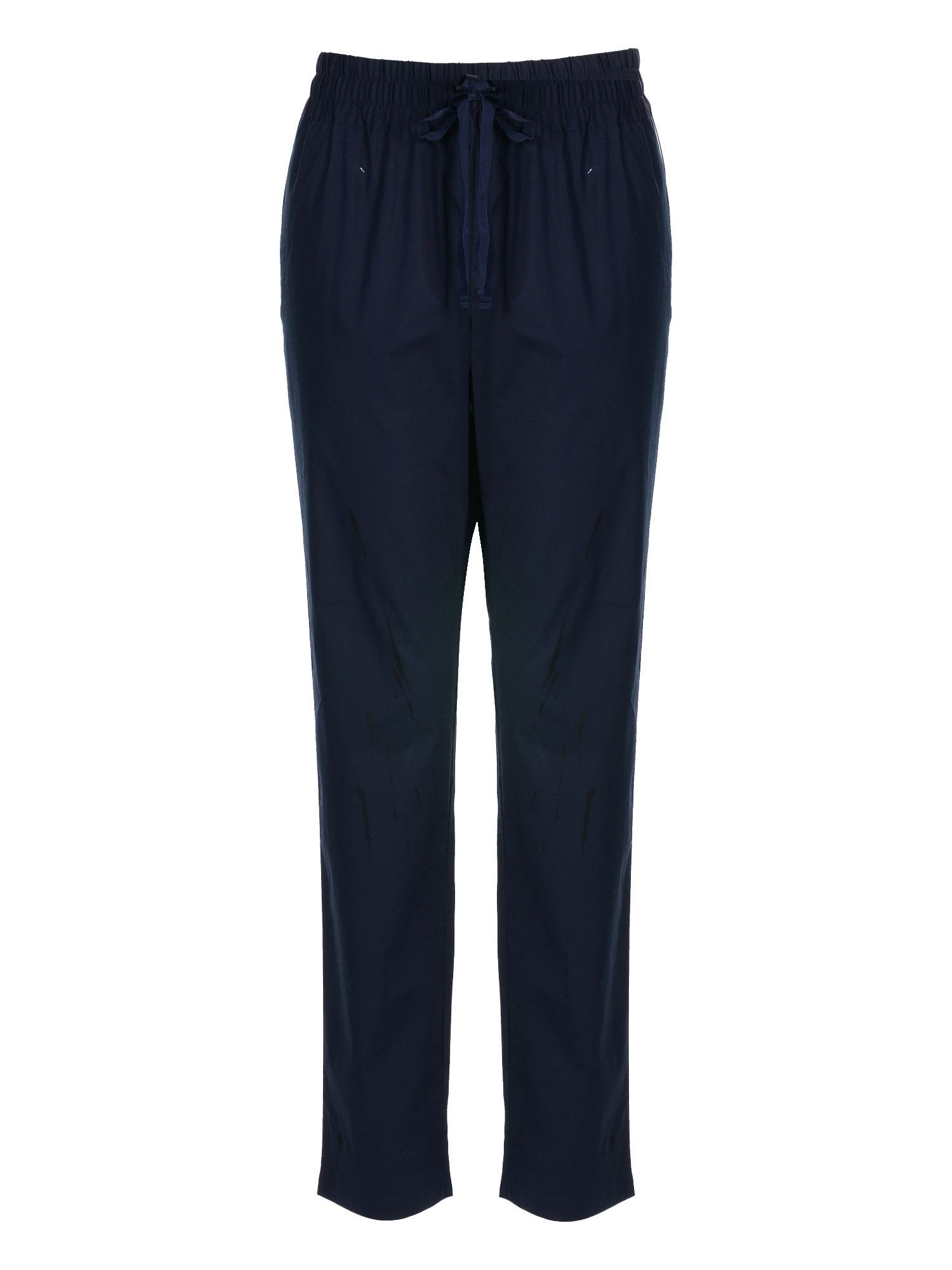 Stefanel Cotton Trouser With Drawstring, Blue
