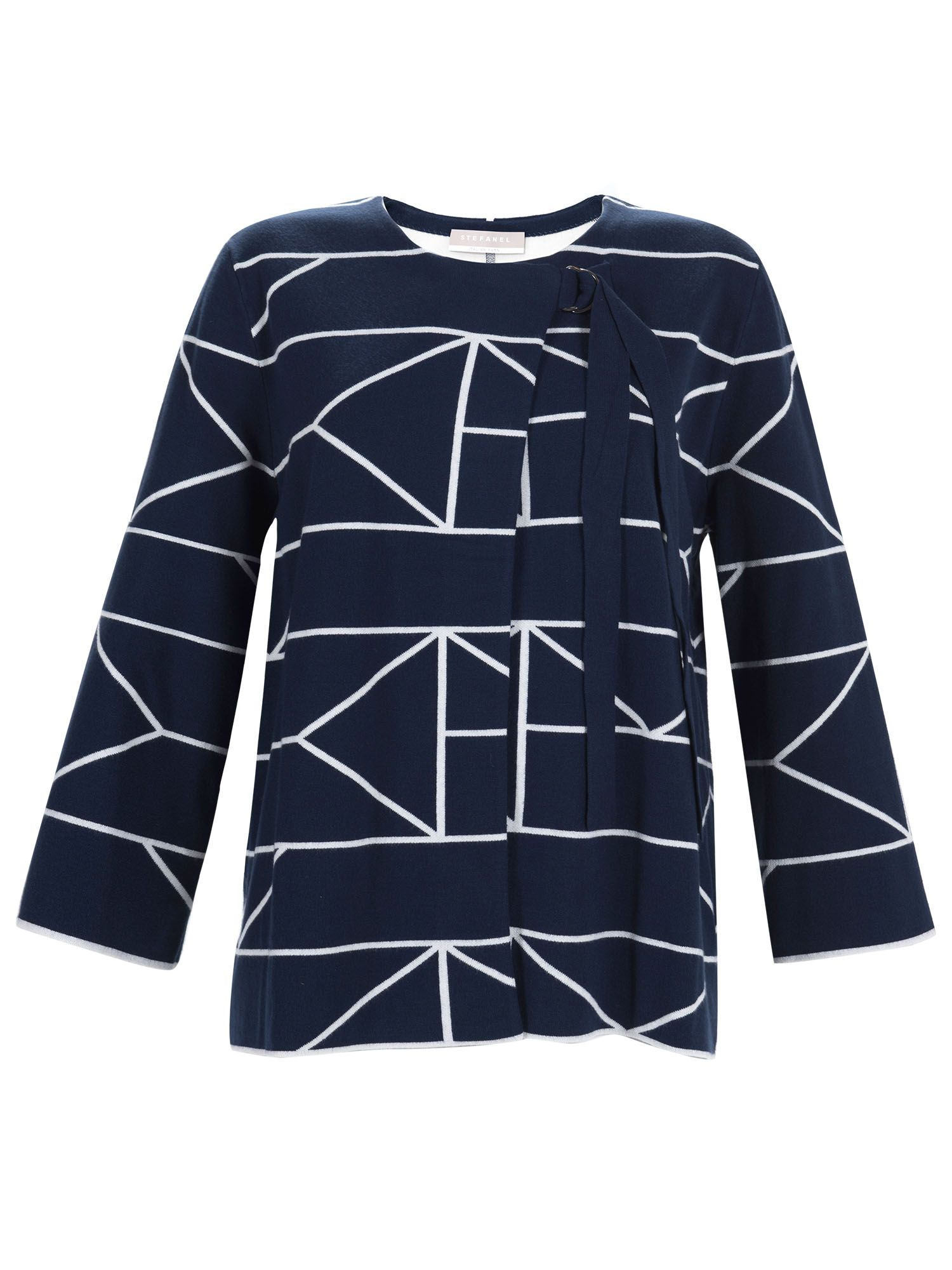 Stefanel Geometric Pattern Jacket, Blue