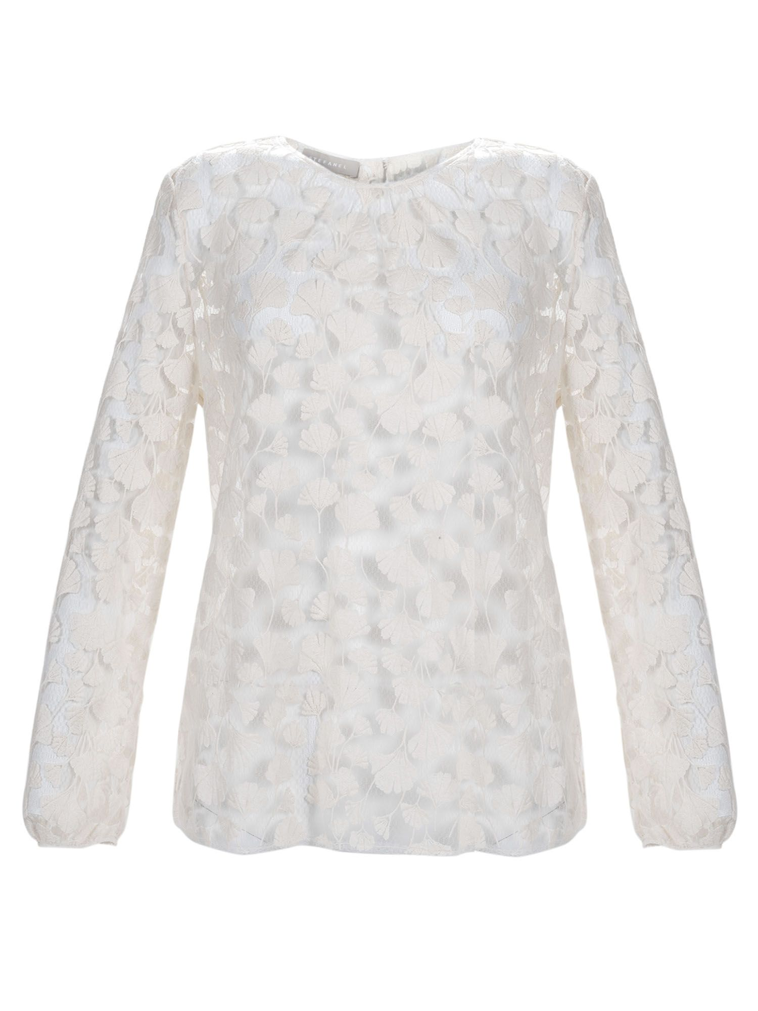 Stefanel Ginkgo Pattern Lace Blouse, Cream